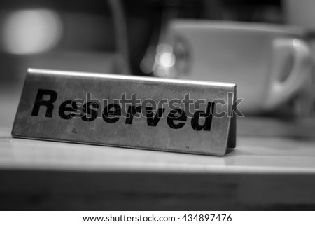 Reserved table in coffee shop