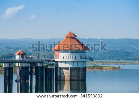 Reservoir and pumping station - stock photo