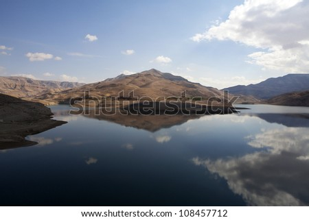 Reservoir in the Wadi Mujib Gorge along the King's Highway in Jordan - stock photo