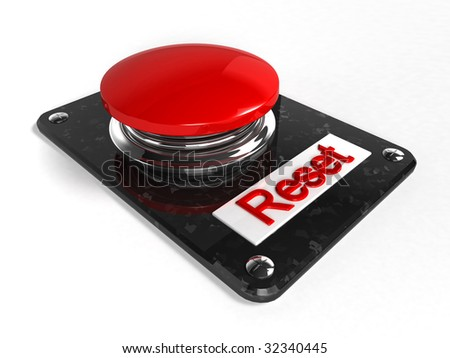 Reset button in white background - stock photo