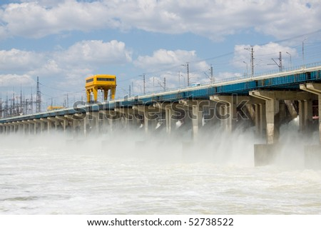 Reset of water on hydro power station - stock photo