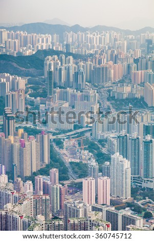 Residential and business area of east Hong Kong, in a dusty day