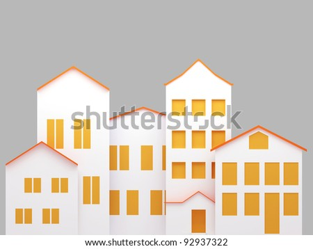 Residential area. 3d render illustration - stock photo