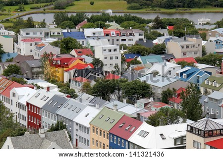 Residential area of Reykjavik city, capital of Iceland. - stock photo