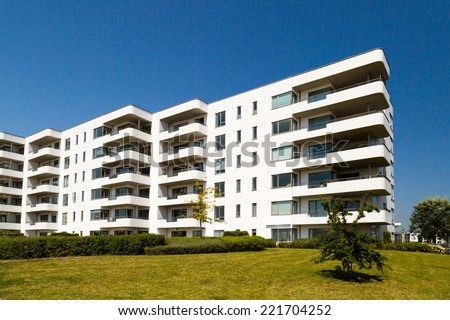 Residential building on a sunny summer day in Hellerup, a suburb of Copenhagen, Denmark. - stock photo