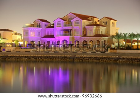 Residential buildings at The Pearl in Doha, Qatar - stock photo