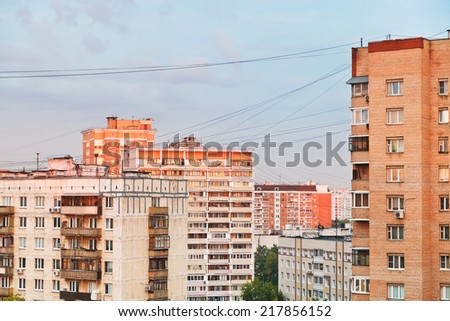 residential buildings in city block at sunset, Moscow - stock photo