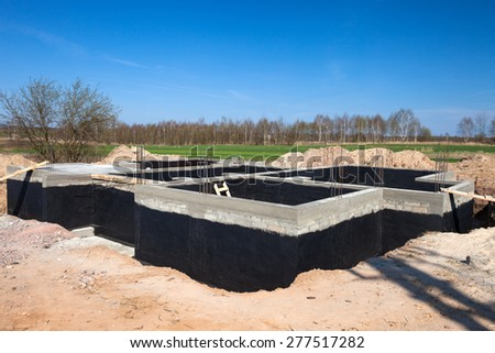 Residential Construction Site Foundation Wall - stock photo