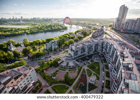 Residential district and Zivopisny cable-stayed Bridge in Moscow, Russia at summer