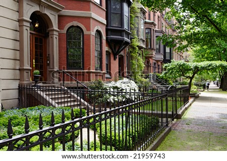 Residential district of Boston Back Bay - stock photo