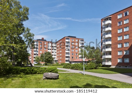 Residential District on a sunny day - stock photo