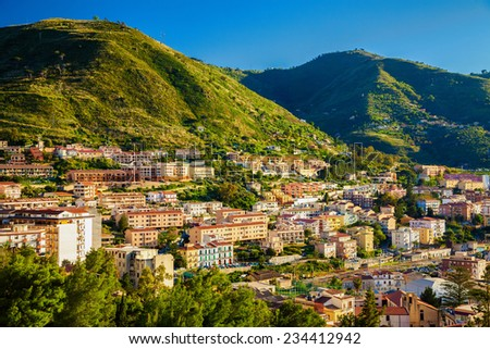 residential district with tenement houses in Cefalu, Sicily, Italy - stock photo