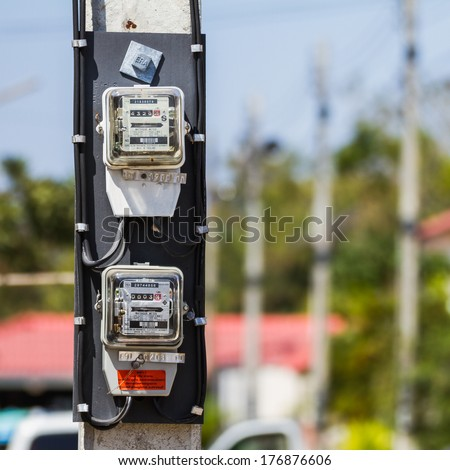 Residential electric power supply meter - stock photo