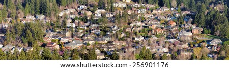 Residential Homes in North American Suburbs Aerial View Panorama - stock photo