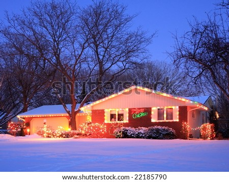 residential house decorated for Christmas - stock photo