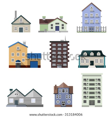 Houses different architectural styles stock vector for Residential architecture styles