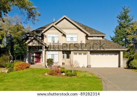 residential house in Vancouver metro area, fall season - stock photo