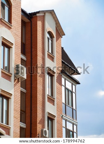 Residential house of brick, urban style - stock photo