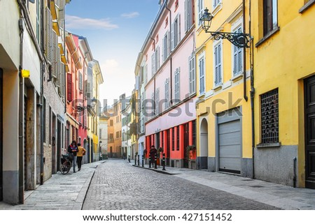 Residential houses on the street in Parma, Emilia Romagna province, Italy. - stock photo