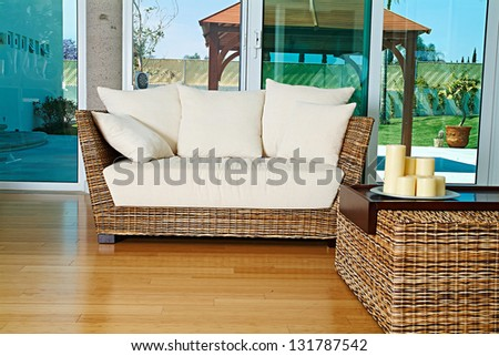 residential interior of modern living room - stock photo