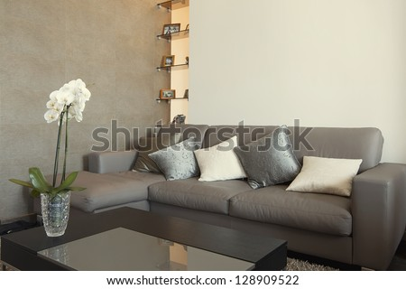 residential interior of modern living room in luxury mansion - stock photo