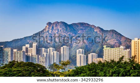 Residential next to Lion Rock, Hong Kong - stock photo