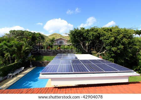 residential photovoltaic solar system - stock photo