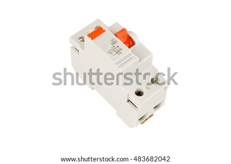 RESIDUAL CURRENT DEVICE - RCD isolated on a white background. Electrical tools series.