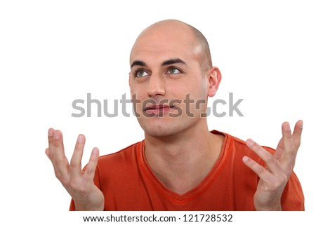 Resigned looking man - stock photo