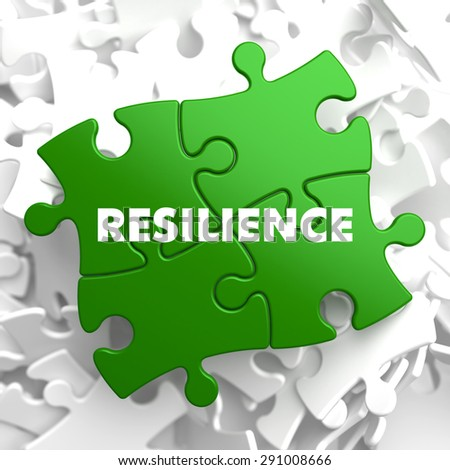 Resilience on Green Puzzle on White Background. - stock photo