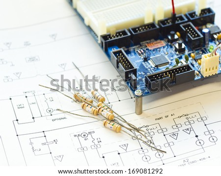 resistor component on circuit diagram  - stock photo