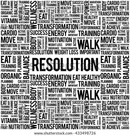 RESOLUTION word cloud background, health concept - stock photo