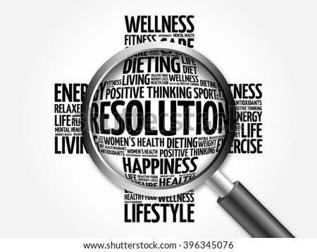 RESOLUTION word cloud with magnifying glass, health concept - stock photo