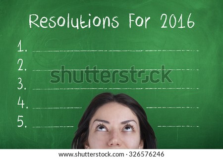 Resolutions For 2016 / New Year Plans Aspirations Goals Targets List Concept - stock photo