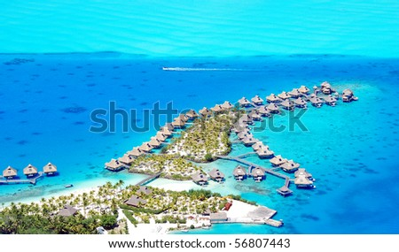 resort at bora bora , aerial view - stock photo