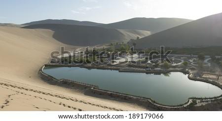 Resort at Mingsha Shan, Gobi Desert, Dunhuang, Jiuquan, Gansu Province, China - stock photo