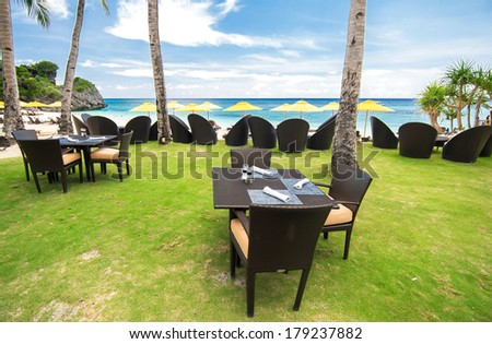 Resort restaurant, Philippines - stock photo