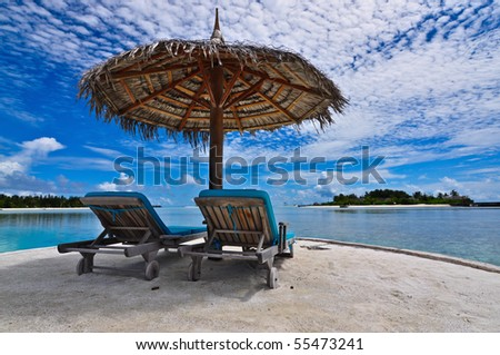 Resort style beach chair, Maldives - stock photo