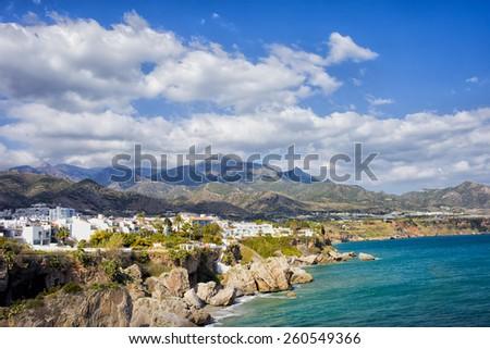 Resort town of Nerja in Spain, coastline of Mediterranean Sea. - stock photo