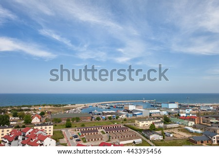 Resort town of Wladyslawowo in Poland, Baltic Sea, townscape from above, Pomerania, Kashubia region.
