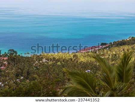resorts on the island, sunset - stock photo