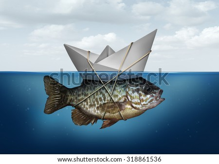 Resource optimization concept as a business symbol for utilization of resources to advance and upgrade a success strategy as a paper boat in water tied to a fish as an efficiency system solution. - stock photo