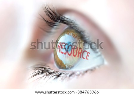 Resource reflection in eye. - stock photo