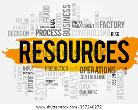 RESOURCES word cloud, business concept background - stock photo