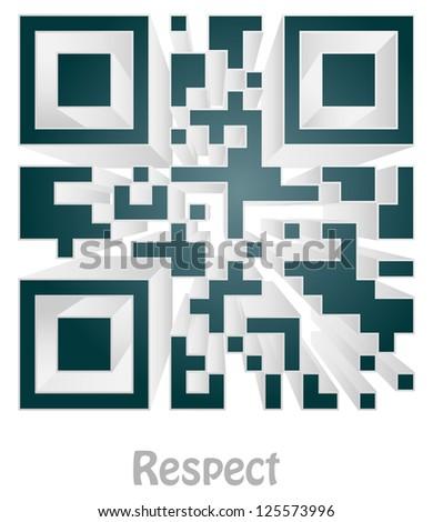 respect (readable qr code) - stock photo