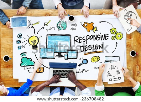 Responsive Design Internet Web Business People Meeting Concept - stock photo