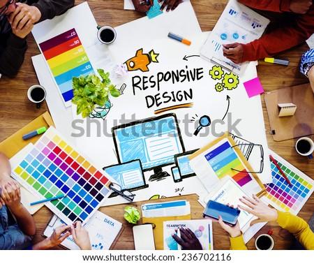 Responsive Design Internet Web Graphic Design Team Concept - stock photo