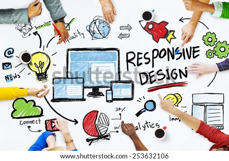 Responsive Design Internet Web Online People Meeting Concept - stock photo