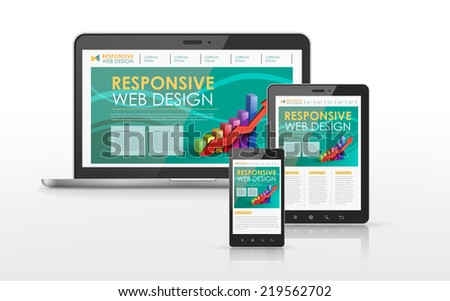 responsive web design concept in laptop, tablet and smart phone - stock photo