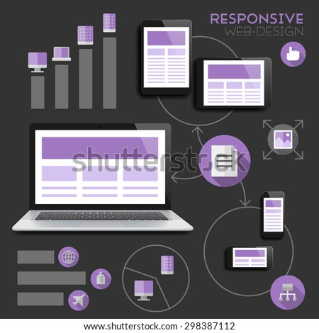 Responsive web-design infographics concept. - stock photo